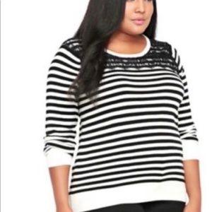 Torrid White Black Striped Lace Sweater Size 2X